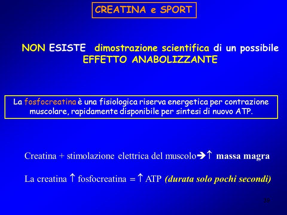 Creatina + stimolazione elettrica del muscolo massa magra