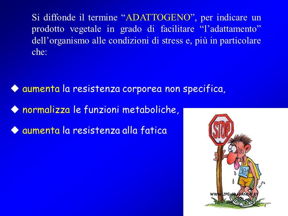 Si diffonde il termine ADATTOGENO , per indicare un prodotto vegetale in grado di facilitare l'adattamento dell'organismo alle condizioni di stress e, più in particolare che:
