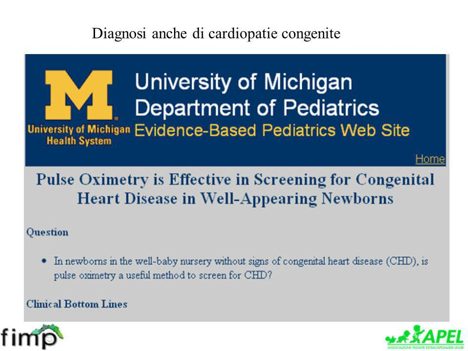 Diagnosi anche di cardiopatie congenite