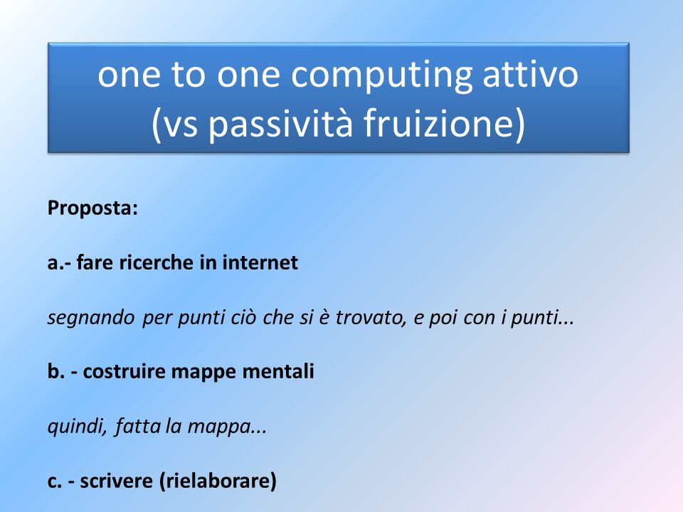 one to one computing attivo (vs passività fruizione)