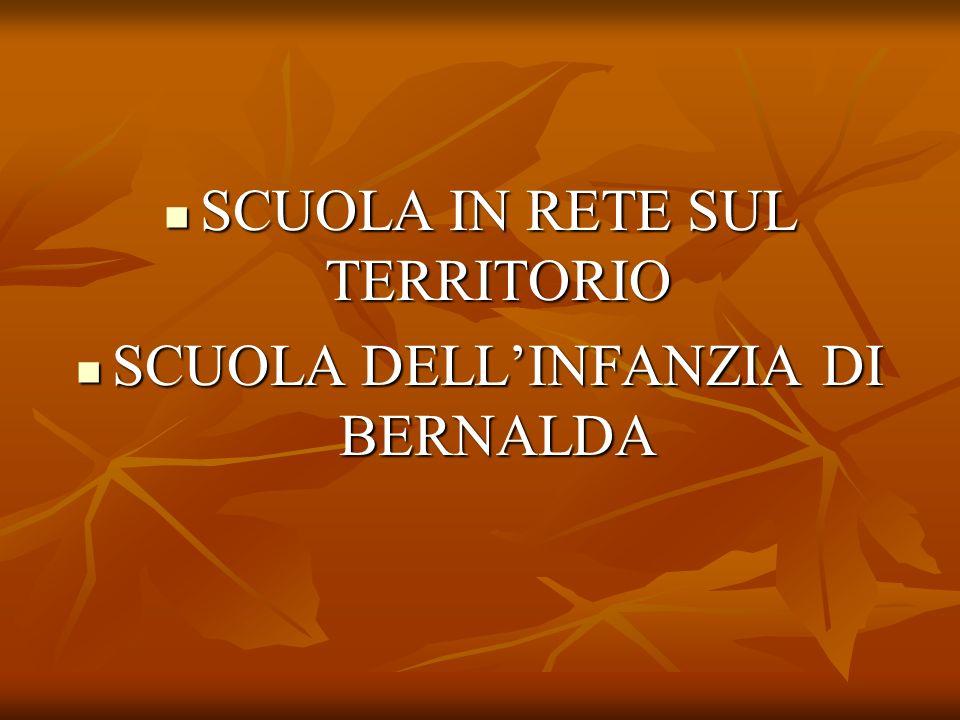 SCUOLA IN RETE SUL TERRITORIO SCUOLA DELL'INFANZIA DI BERNALDA