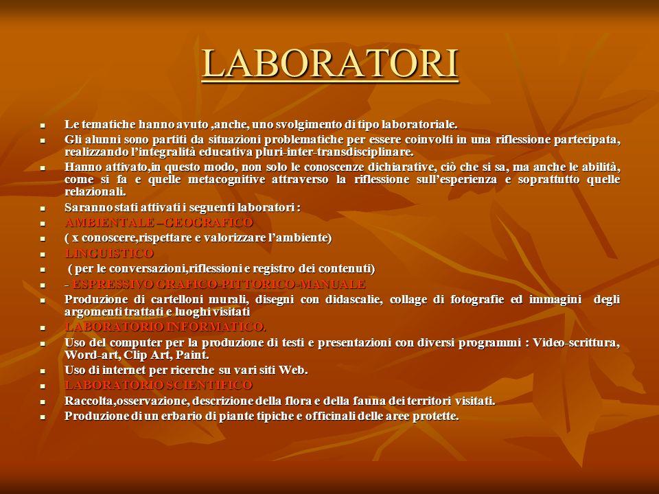 LABORATORI Le tematiche hanno avuto ,anche, uno svolgimento di tipo laboratoriale.