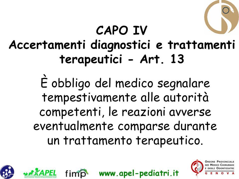 Accertamenti diagnostici e trattamenti terapeutici - Art. 13
