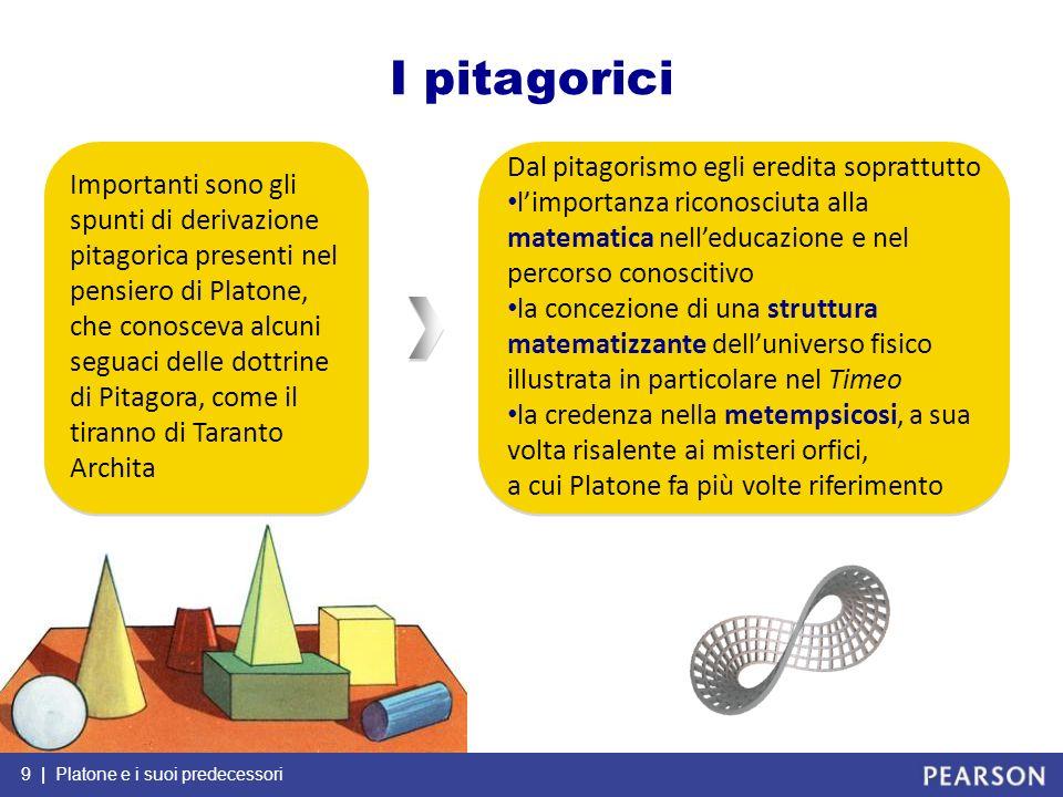 I pitagorici Dal pitagorismo egli eredita soprattutto
