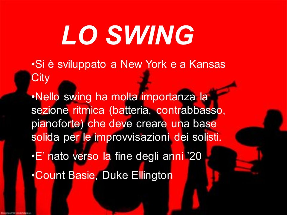LO SWING Si è sviluppato a New York e a Kansas City