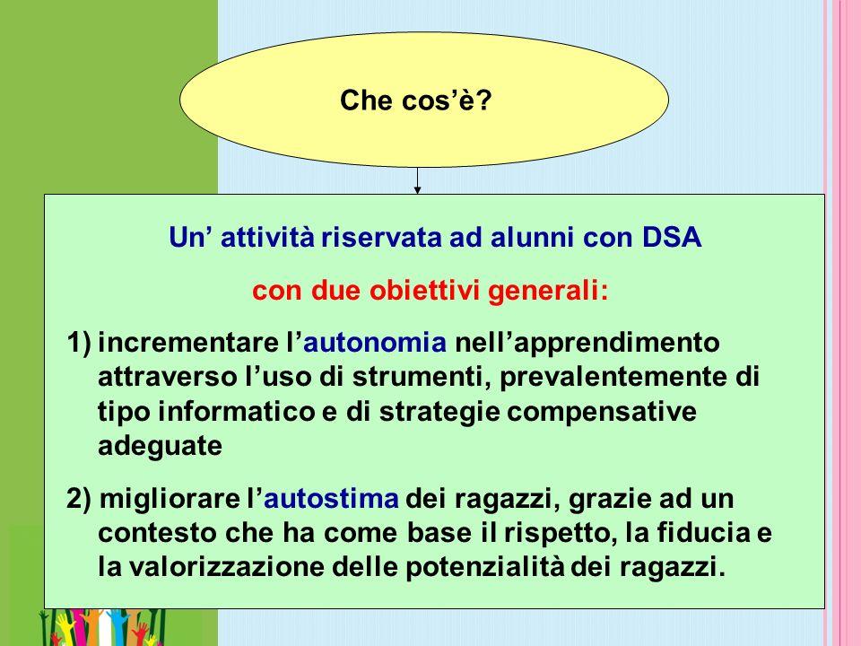 Un' attività riservata ad alunni con DSA con due obiettivi generali: