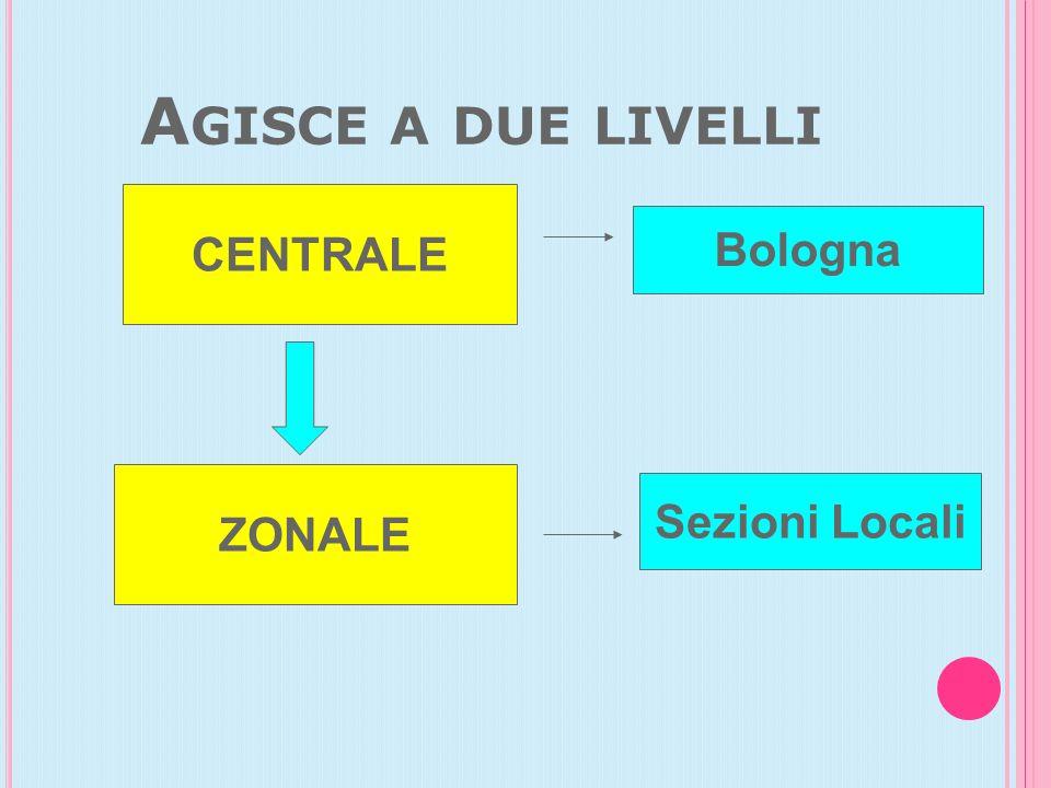 Agisce a due livelli CENTRALE Bologna ZONALE Sezioni Locali