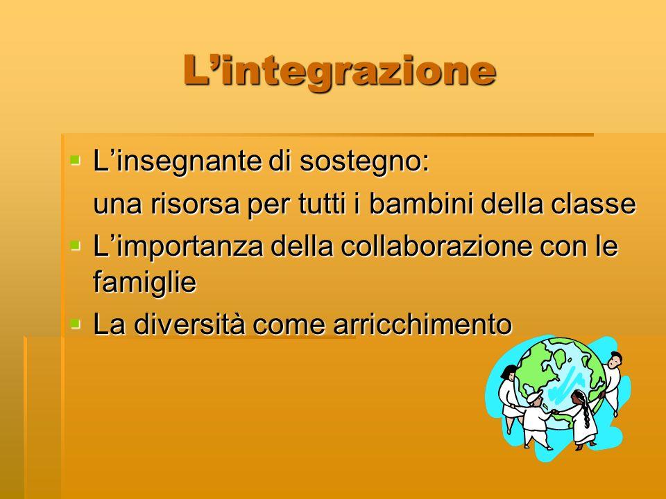 L'integrazione L'insegnante di sostegno: