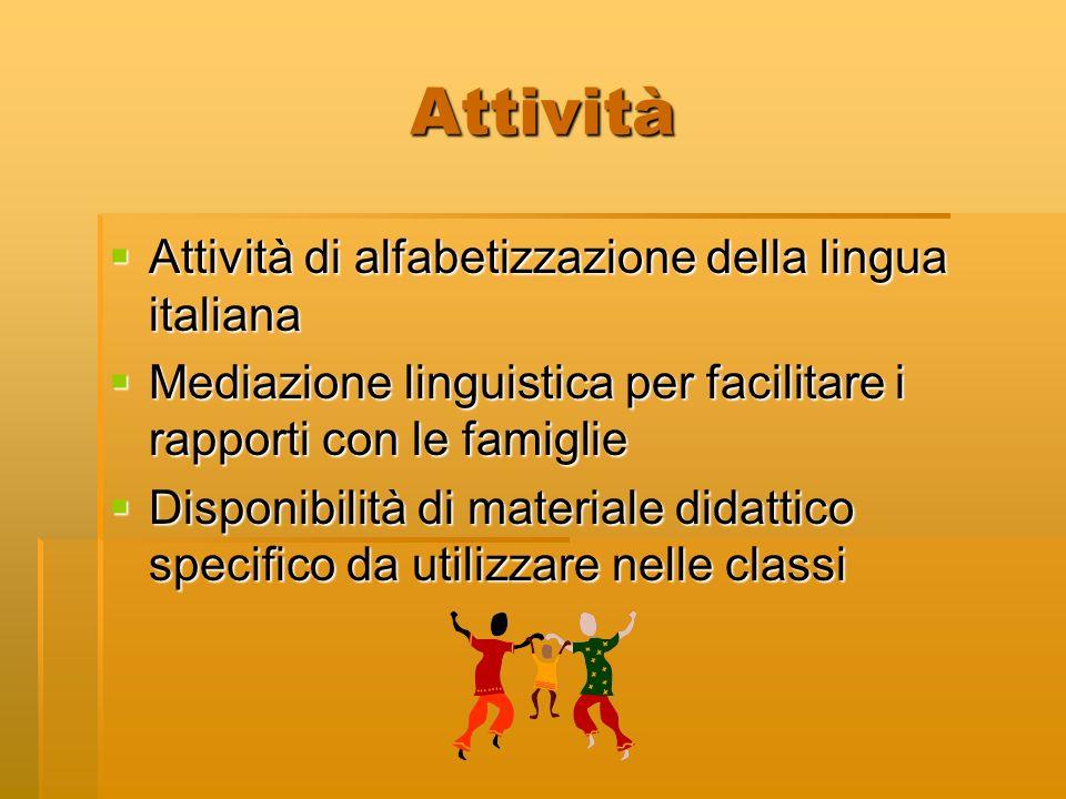 Attività Attività di alfabetizzazione della lingua italiana