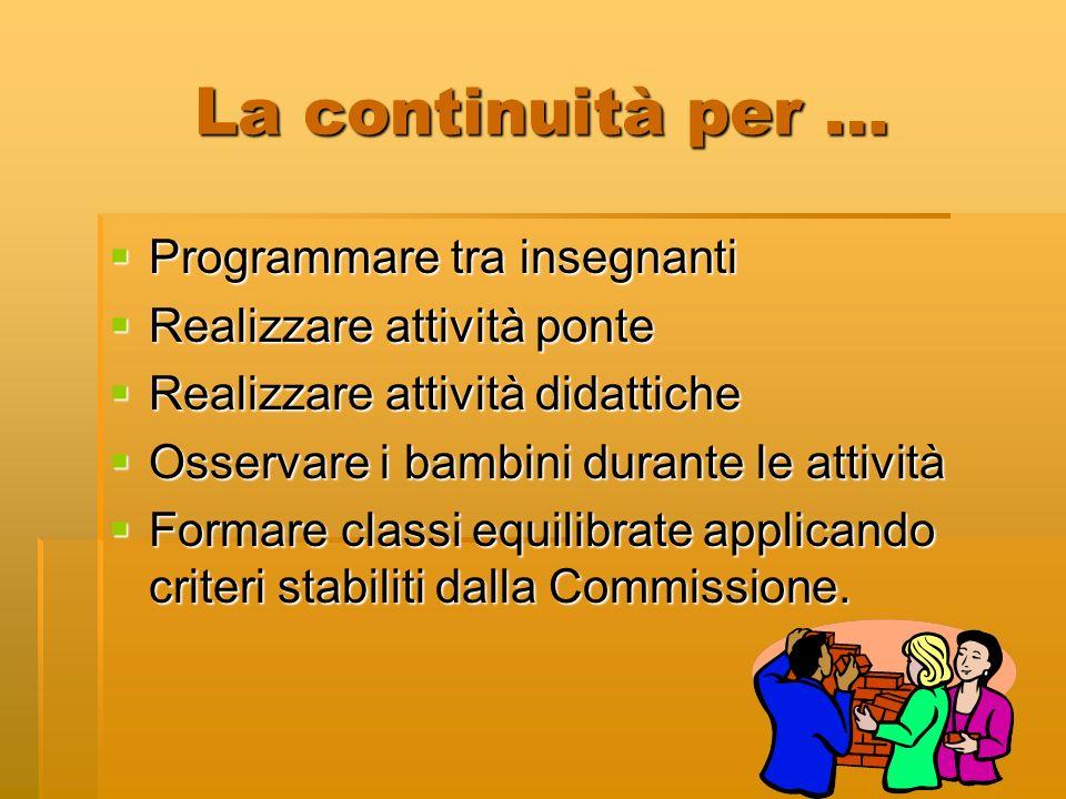 La continuità per … Programmare tra insegnanti