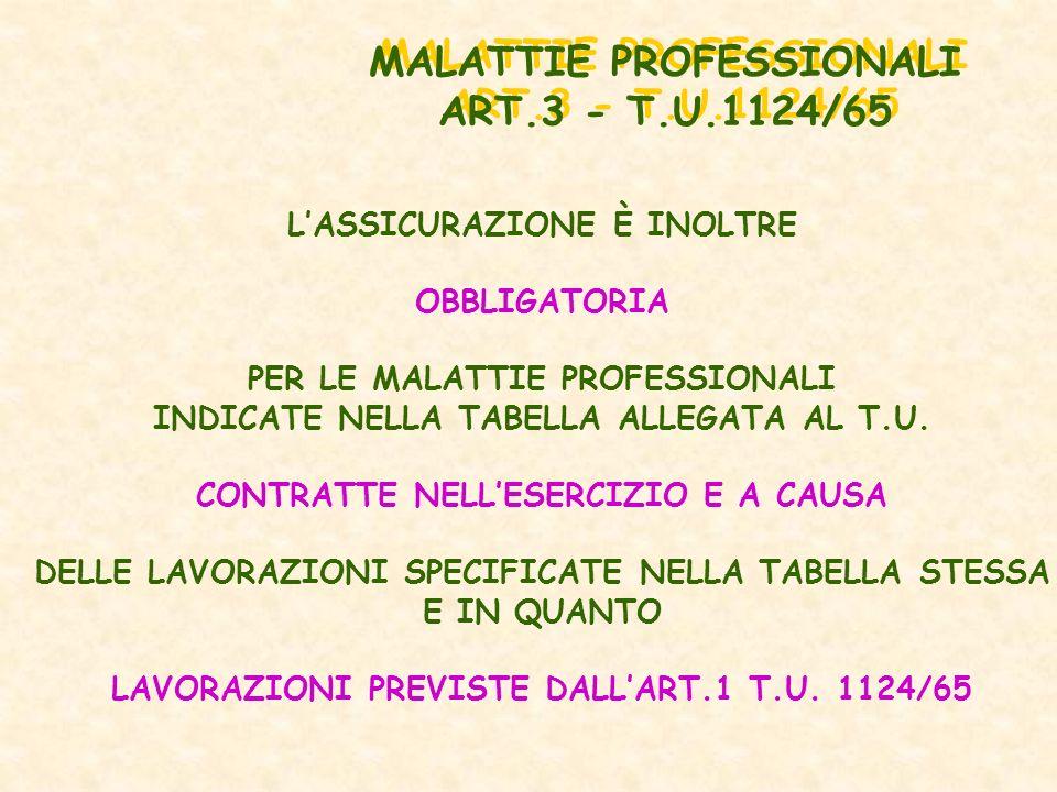 MALATTIE PROFESSIONALI ART.3 - T.U.1124/65