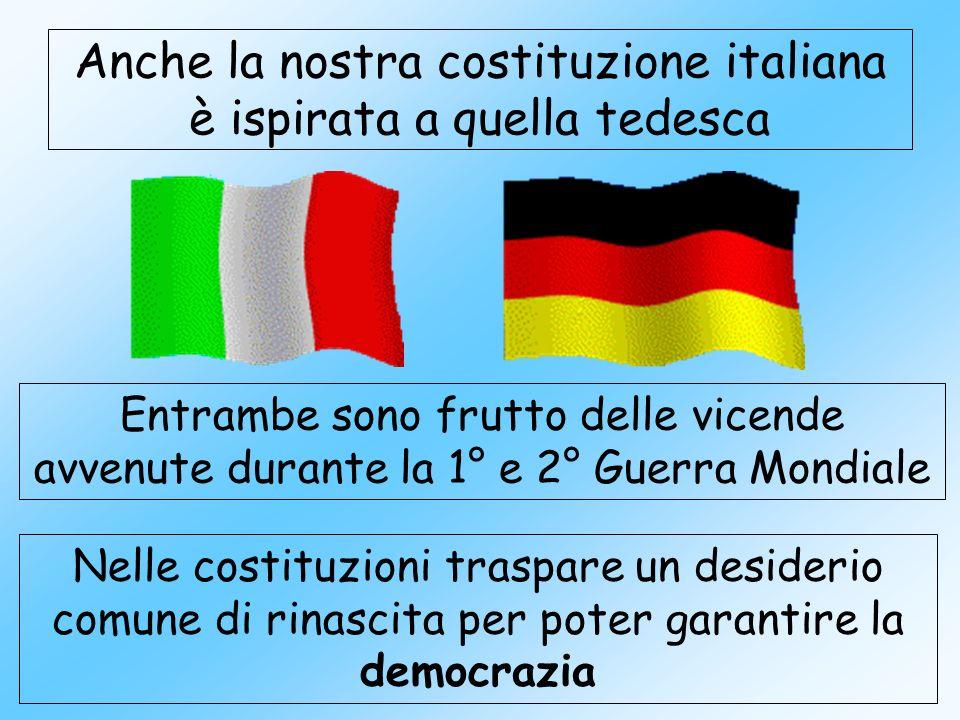Anche la nostra costituzione italiana è ispirata a quella tedesca