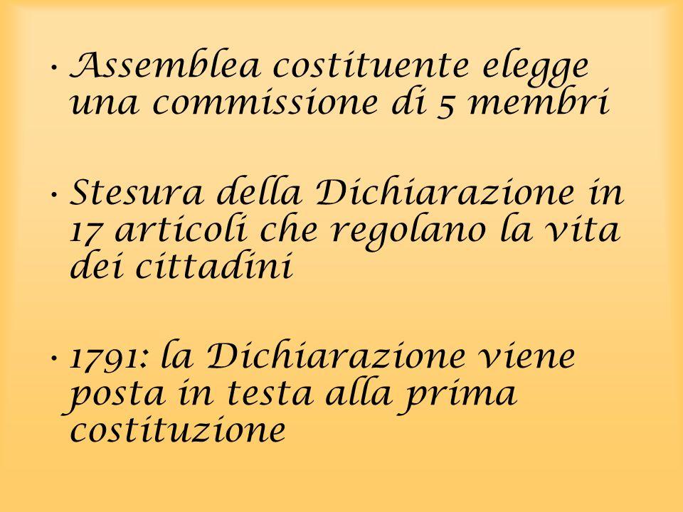 Assemblea costituente elegge una commissione di 5 membri