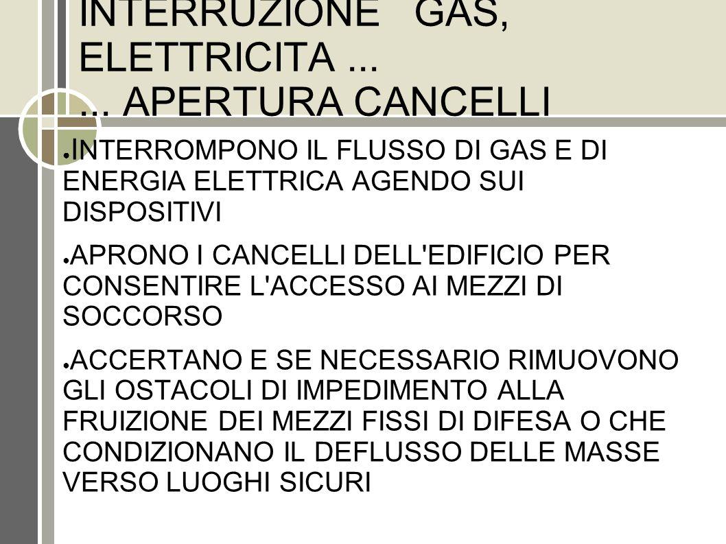 INTERRUZIONE GAS, ELETTRICITA ... ... APERTURA CANCELLI