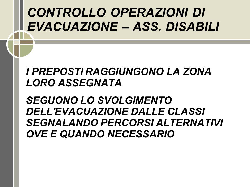 CONTROLLO OPERAZIONI DI EVACUAZIONE – ASS. DISABILI