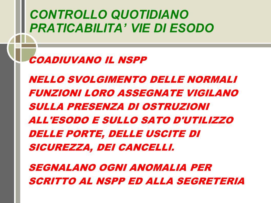 CONTROLLO QUOTIDIANO PRATICABILITA' VIE DI ESODO