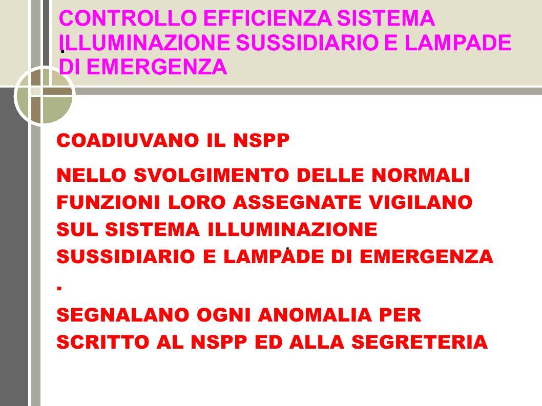 CONTROLLO EFFICIENZA SISTEMA ILLUMINAZIONE SUSSIDIARIO E LAMPADE DI EMERGENZA