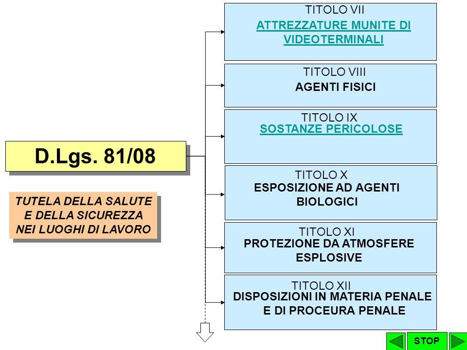 D.Lgs. 81/08 TITOLO VII ATTREZZATURE MUNITE DI VIDEOTERMINALI