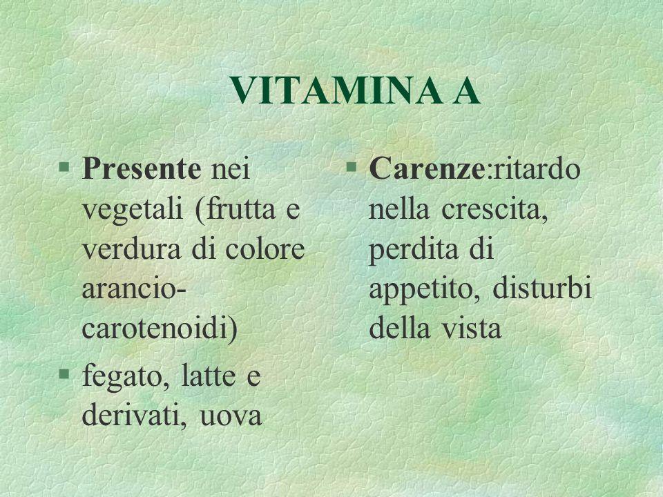 VITAMINA A Presente nei vegetali (frutta e verdura di colore arancio-carotenoidi) fegato, latte e derivati, uova.