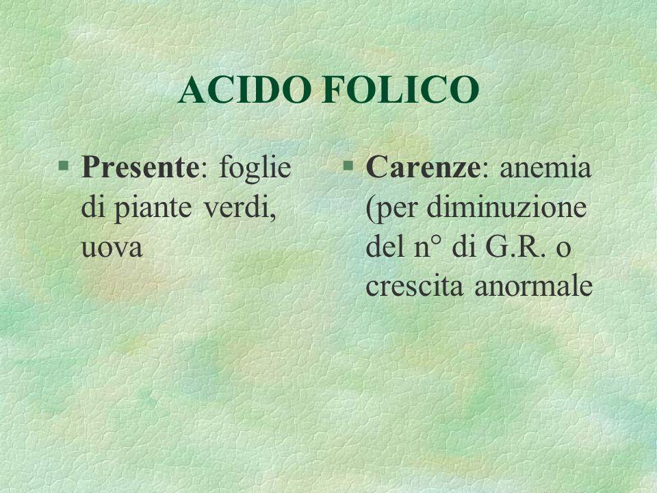 ACIDO FOLICO Presente: foglie di piante verdi, uova