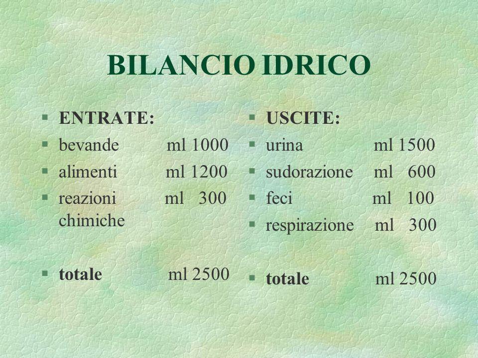 BILANCIO IDRICO ENTRATE: bevande ml 1000 alimenti ml 1200