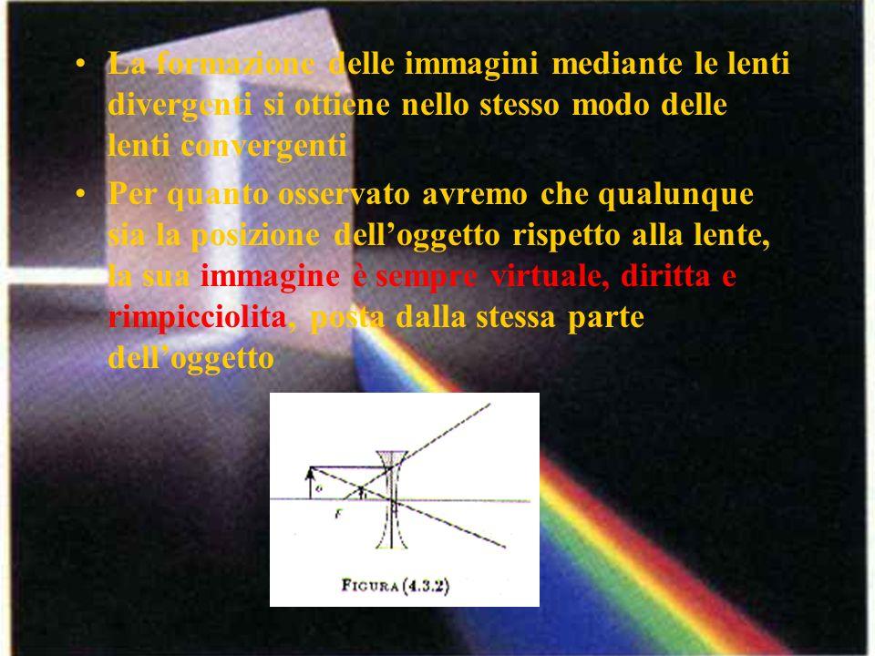 La formazione delle immagini mediante le lenti divergenti si ottiene nello stesso modo delle lenti convergenti