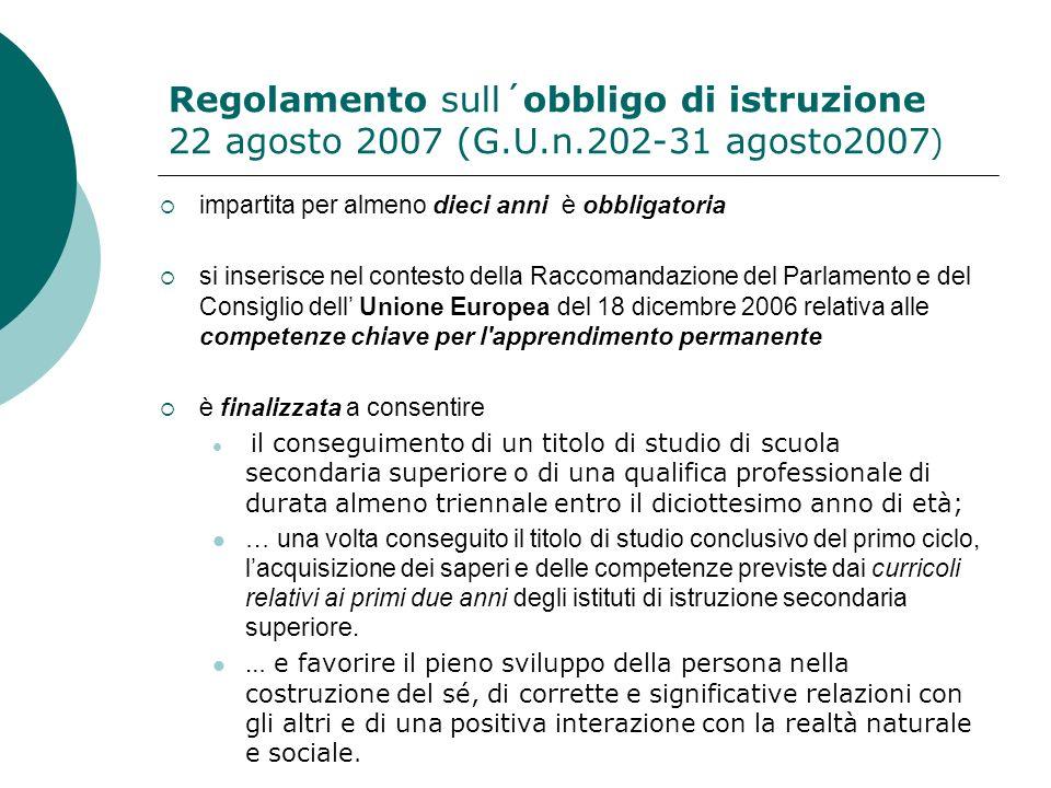 Regolamento sull´obbligo di istruzione 22 agosto 2007 (G. U. n
