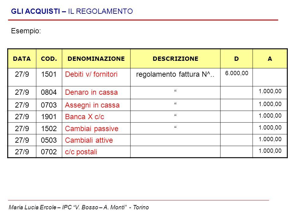 regolamento fattura N^..