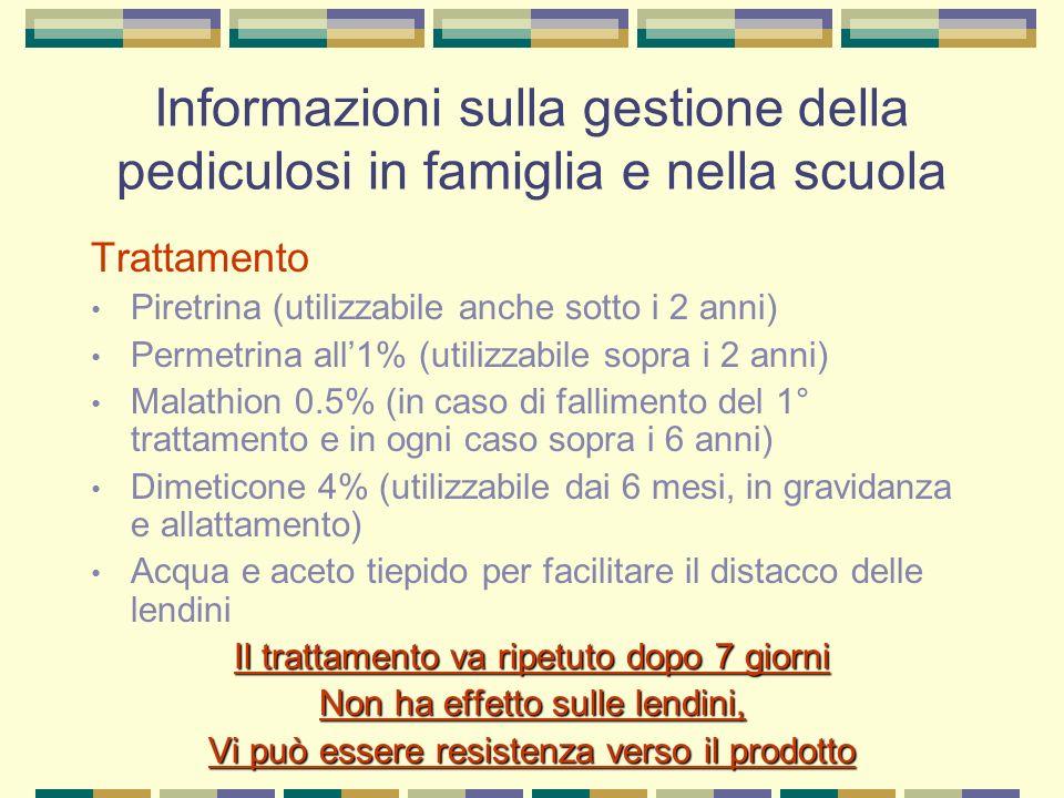 Informazioni sulla gestione della pediculosi in famiglia e nella scuola