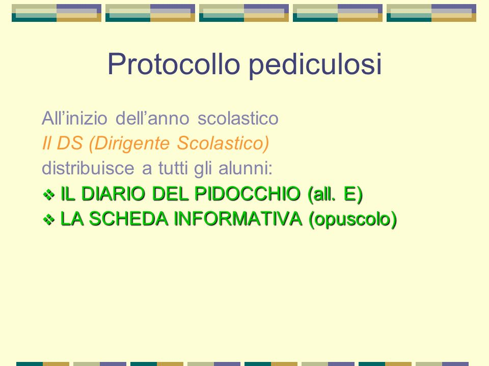 Protocollo pediculosi