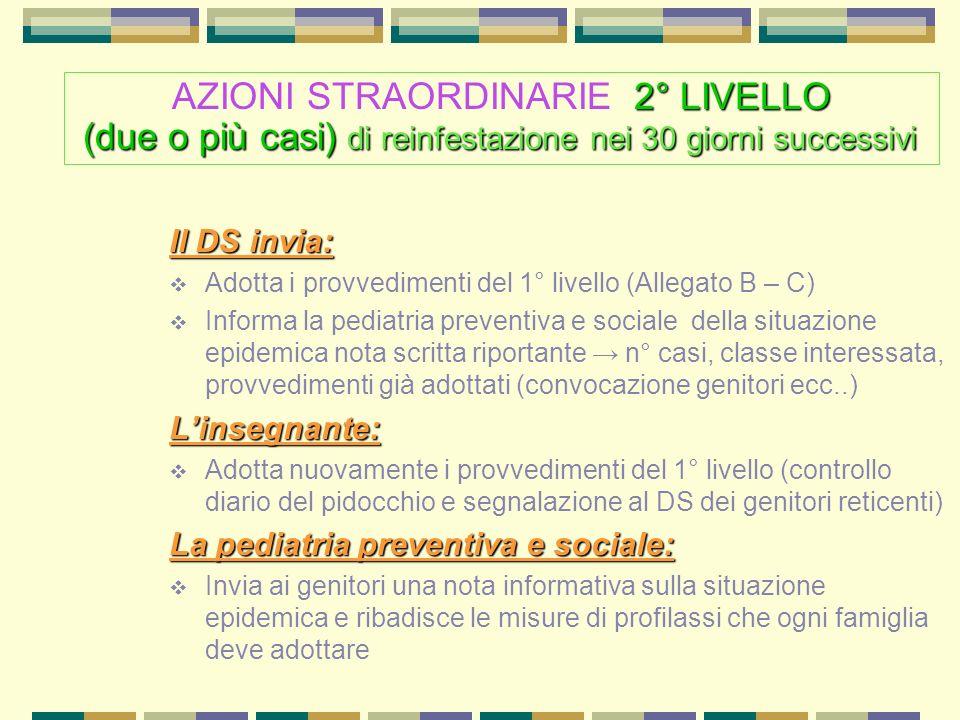 AZIONI STRAORDINARIE 2° LIVELLO (due o più casi) di reinfestazione nei 30 giorni successivi