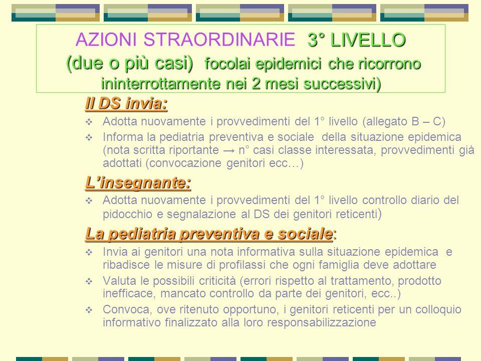 AZIONI STRAORDINARIE 3° LIVELLO (due o più casi) focolai epidemici che ricorrono ininterrottamente nei 2 mesi successivi)