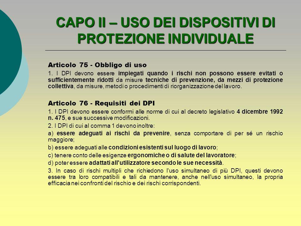CAPO II – USO DEI DISPOSITIVI DI PROTEZIONE INDIVIDUALE