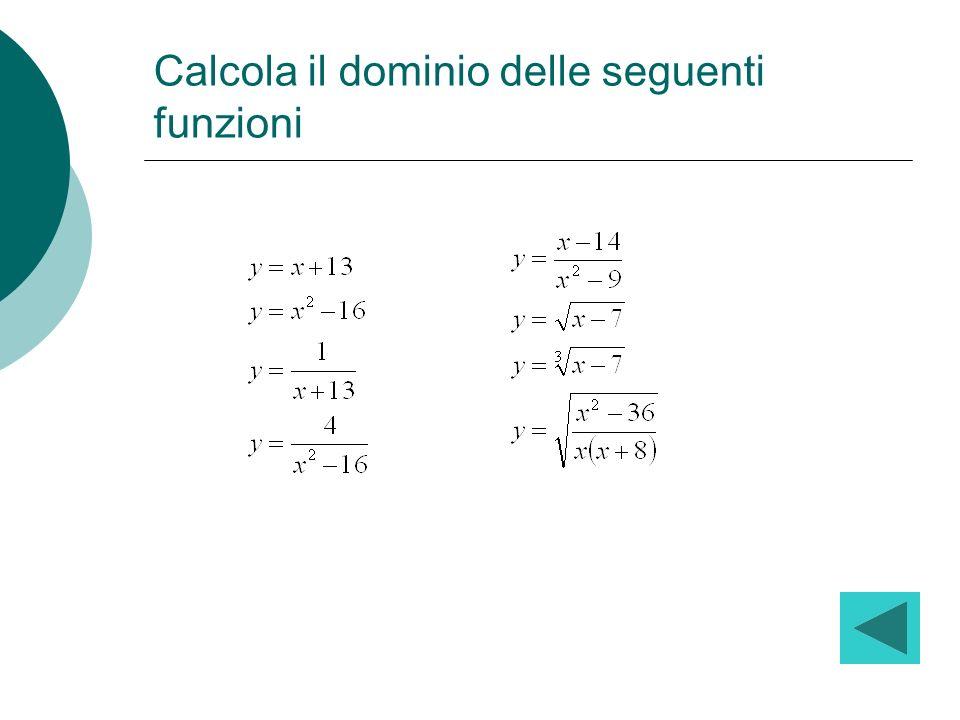 Calcola il dominio delle seguenti funzioni