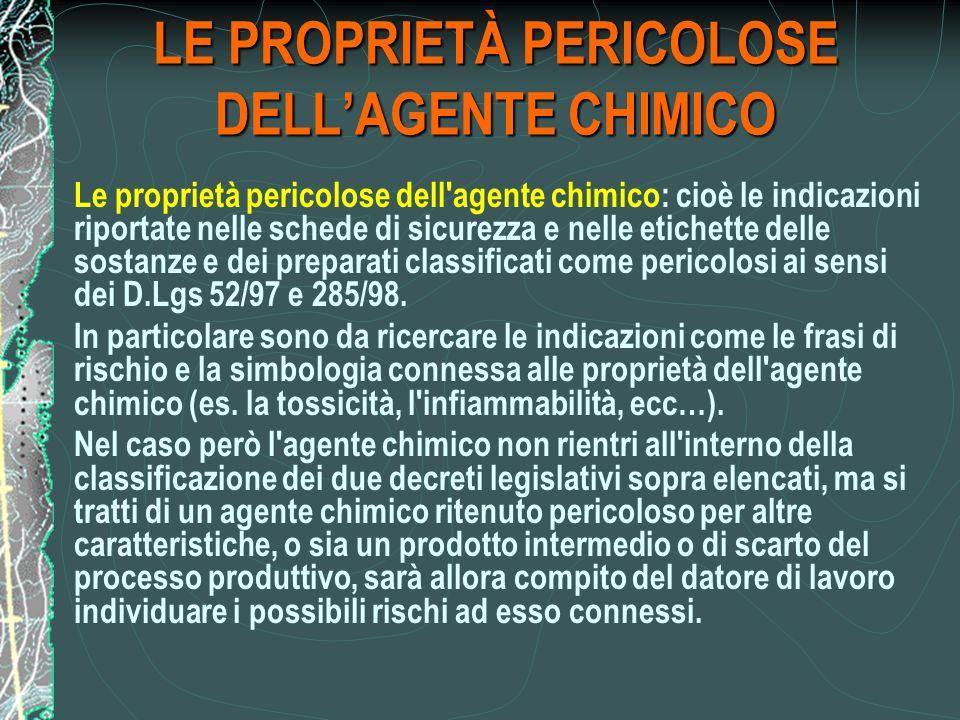 LE PROPRIETÀ PERICOLOSE DELL'AGENTE CHIMICO