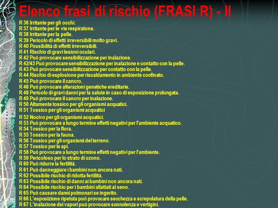 Elenco frasi di rischio (FRASI R) - II