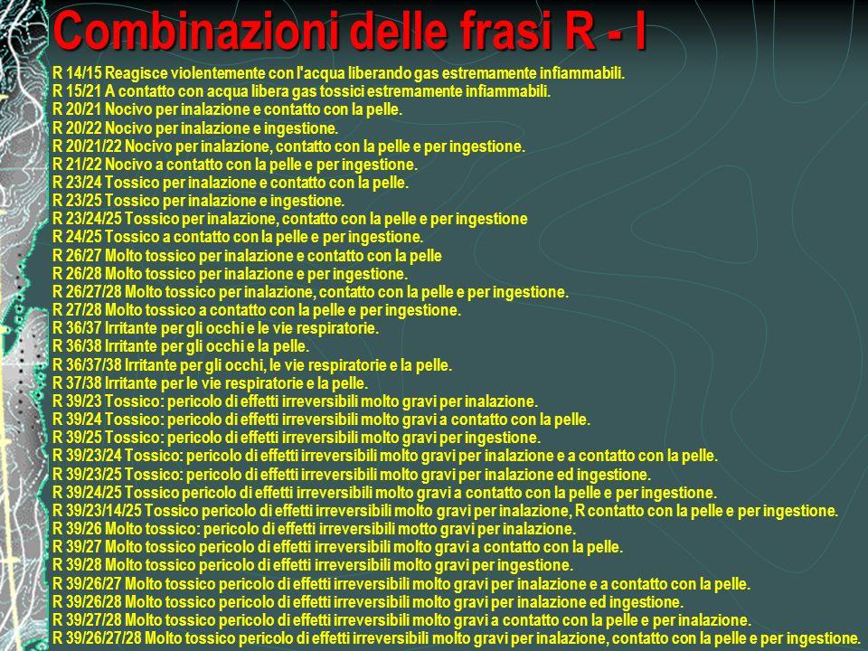 Combinazioni delle frasi R - I