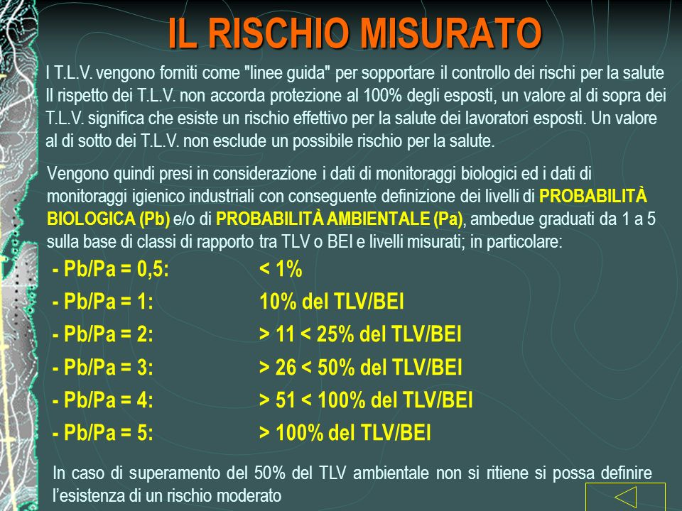 IL RISCHIO MISURATO - Pb/Pa = 0,5: < 1%