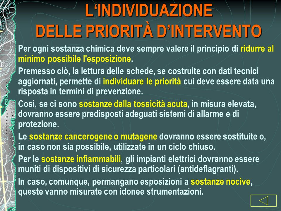 L'INDIVIDUAZIONE DELLE PRIORITÀ D'INTERVENTO