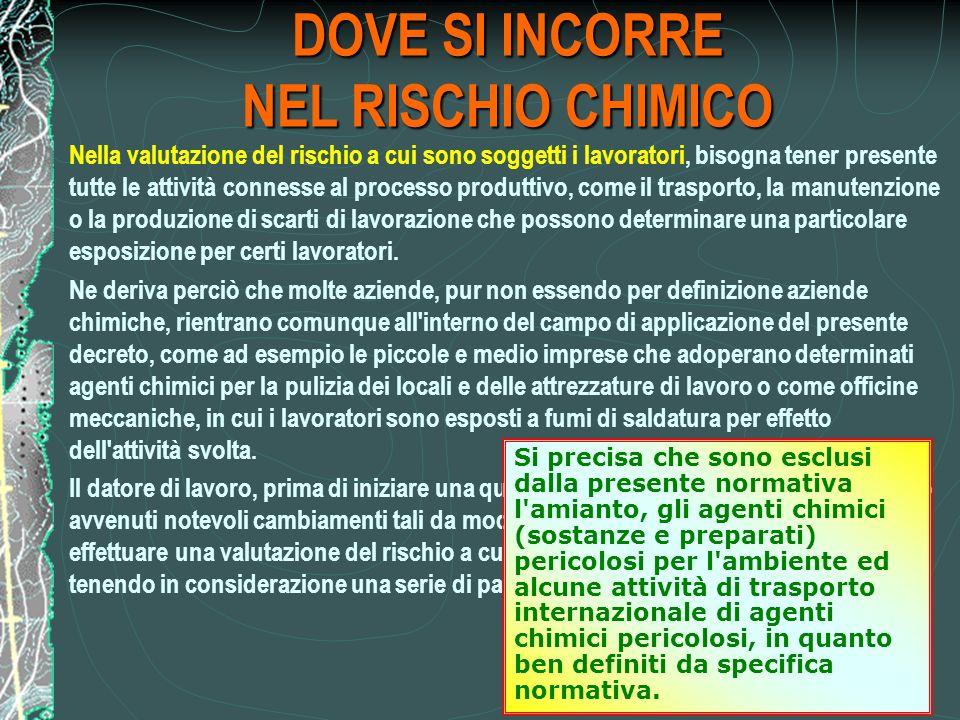 DOVE SI INCORRE NEL RISCHIO CHIMICO