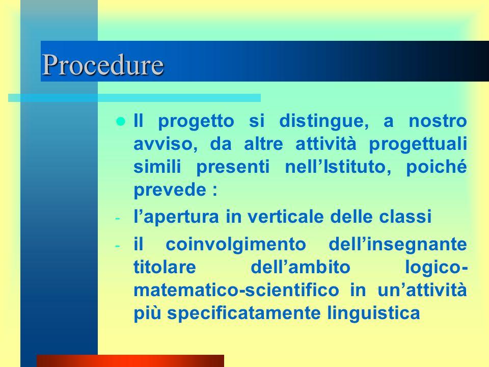 Procedure Il progetto si distingue, a nostro avviso, da altre attività progettuali simili presenti nell'Istituto, poiché prevede :