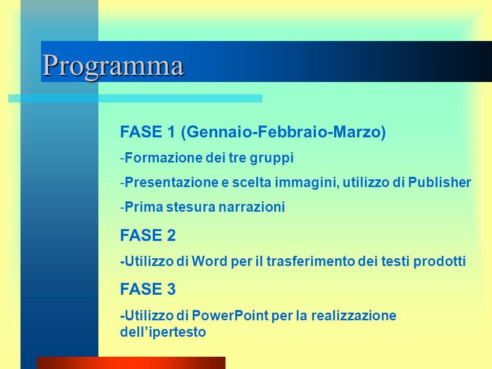 Programma FASE 1 (Gennaio-Febbraio-Marzo) FASE 2 FASE 3