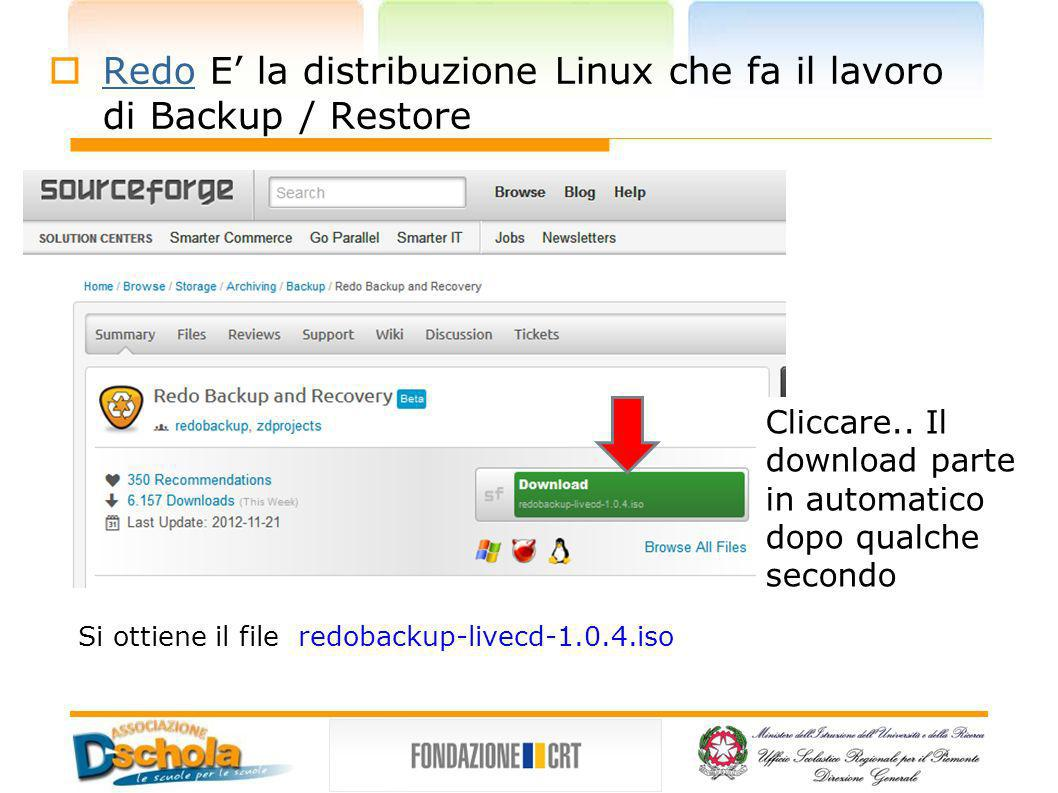 Redo E' la distribuzione Linux che fa il lavoro di Backup / Restore