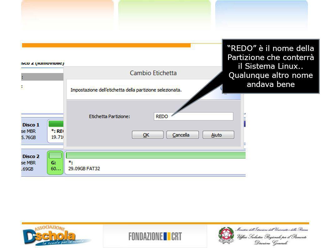 REDO è il nome della Partizione che conterrà il Sistema Linux