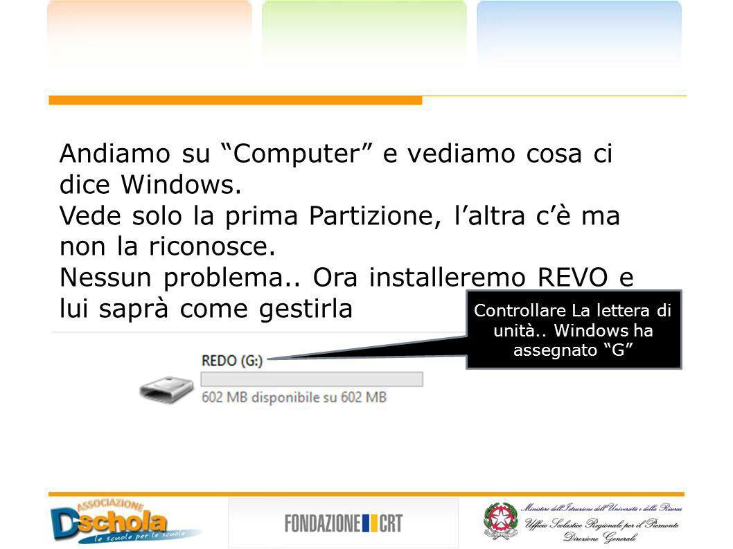 Controllare La lettera di unità.. Windows ha assegnato G