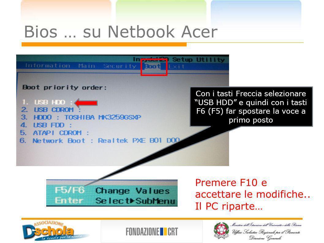 Bios … su Netbook Acer Con i tasti Freccia selezionare USB HDD e quindi con i tasti F6 (F5) far spostare la voce a primo posto.