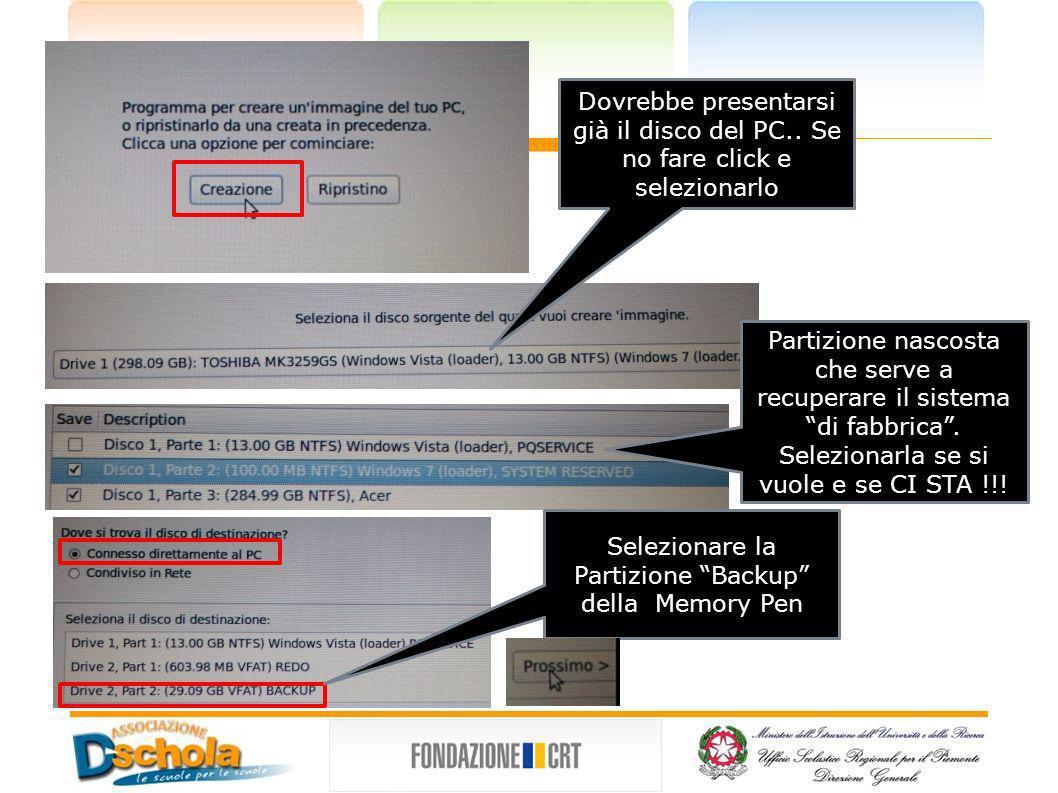 Selezionare la Partizione Backup della Memory Pen