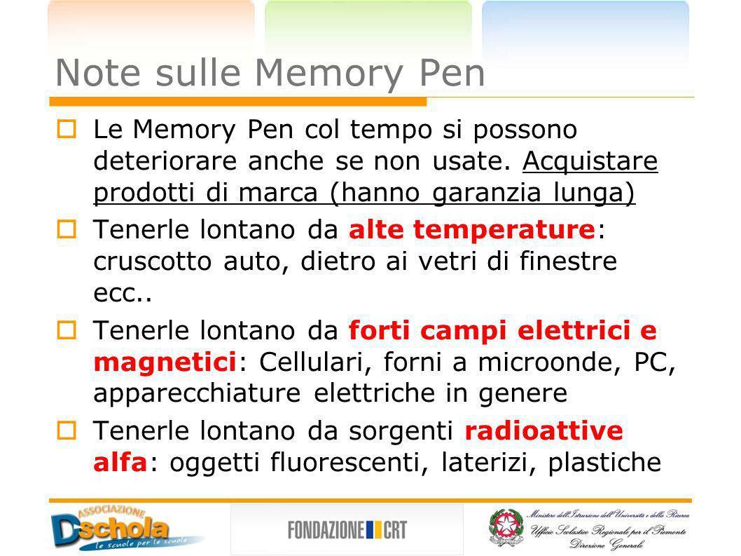 Note sulle Memory Pen Le Memory Pen col tempo si possono deteriorare anche se non usate. Acquistare prodotti di marca (hanno garanzia lunga)