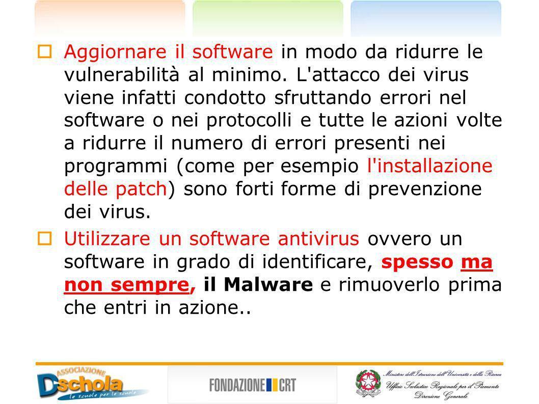 Aggiornare il software in modo da ridurre le vulnerabilità al minimo