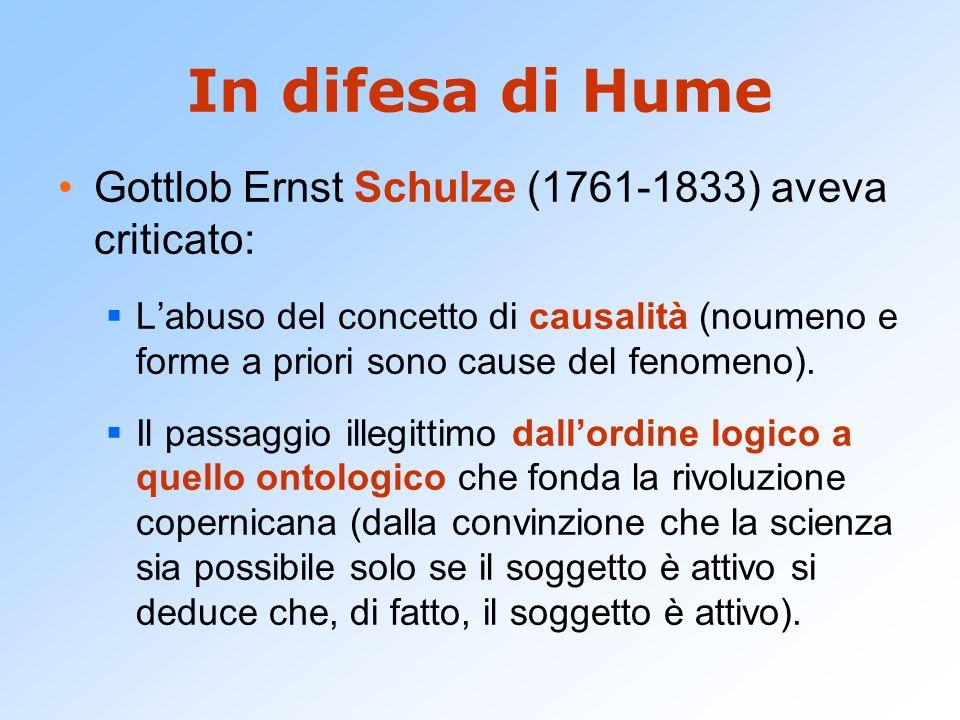 In difesa di Hume Gottlob Ernst Schulze (1761-1833) aveva criticato: